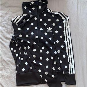 Black and white polka dot Adidias jacket